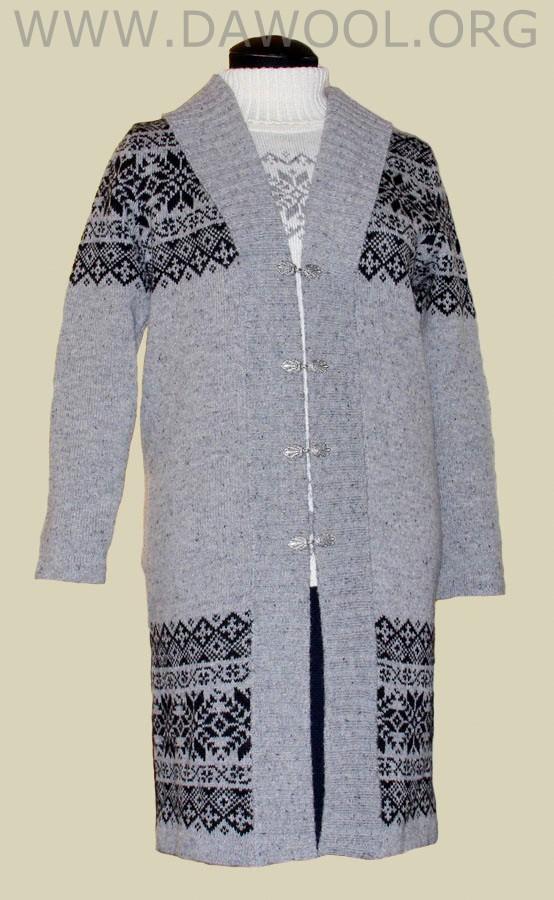 Женский шерстяной кардиган-пальто 28004