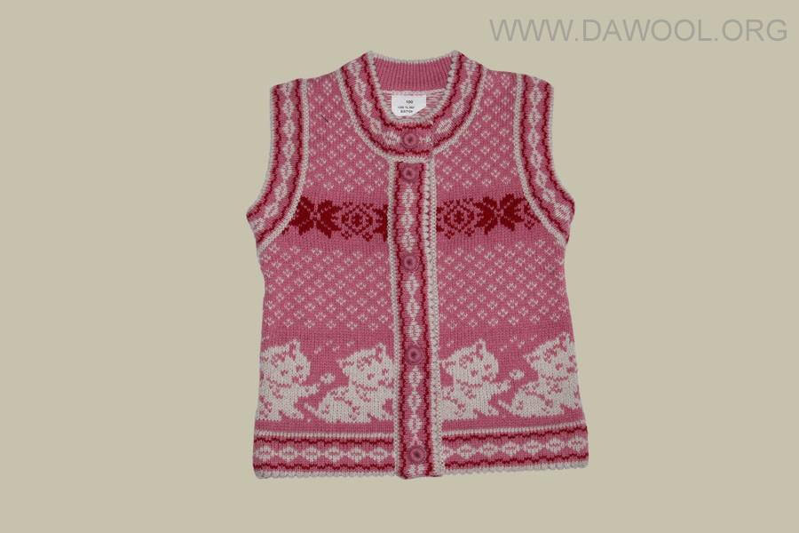 Розовый детский шерстяной жилет